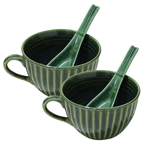 Ideen Tag Patrick Geschenke St (Store Indya, Handgefertigte Set von 2 Keramik Suppenschalen mit Griff für Abendessen Nudeln Getreide Salat Salsa Pasta Snacks mit Loffel Tasse Muslischalen Kuche Tabletop)