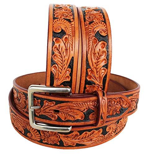 Unbekannt Westerngürtel für Herren und Damen, echtes Leder, Braun 2644RS, Tan Black, 55-56 inches -