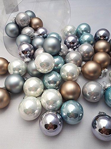 45tlg Kugeln Eiskristall Blau Mix Weihnachtsschmuck Weihnachsdeko Hänger Weihnachten Dekoration Advent