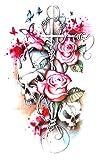 EROSPA® Tattoo-Bogen temporär - Totenkopf Schädel Rosen Kreuz Schmetterlinge