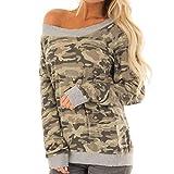 Lazzboy Damen Sweatshirt Pullover Langarm Camouflage Rundhals Tops Shirt Bluse(Grün,38)