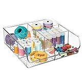 mDesign Organizador de cajones Abierto para Material de Costura y artículos de mercería - Práctica Caja organizadora con 6 Compartimentos - Bandeja de plástico para cajones y armarios - Transparente...