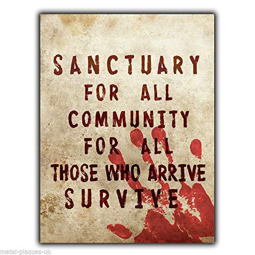 PotteLove Metallschild Sanctuary for All Community, Walking Dead (The Walking Dead-möbel)