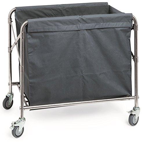 Wäschewagen aus Edelstahl, Wäschesack aus Polyester / 85 x 45 x 85 cm