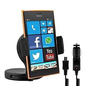 kwmobile Support pour Nokia Lumia 730 / 735 - Support automobile pour pare-brise ou tableau de bord avec patin adhésif en noir + chargeur