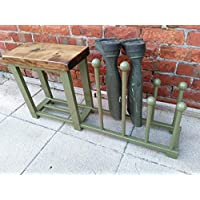 Welly rack, boot rack, Shoe rack, hallway bench with shoe rack to base rustic industrial various colours available