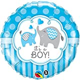 Qualatex - Palloncino tondo annuncio nascita con elefante (2 versioni) (Taglia unica) (Blu/Bianco)