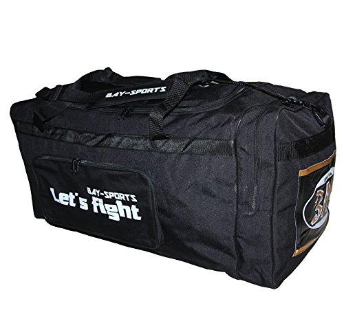 BAY 'Let´s Fight' XL, 80 cm, Sporttasche, Reisetasche, 100 l Liter, schwarz gold Eishockeytasche Tasche groß XXL Transporttasche, Sporttasche, Jumbo, Sport, Eishockey