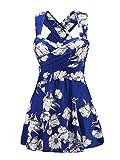 Leslady Maillot Une Pièce Tankini Robe Fleuri Grande Taille à-Bretelle Col V à Dos Croissé Beachwear
