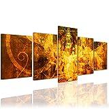 Bilderdepot24 Kunstdruck - Buddha Urban - Bild auf Leinwand - 200x80 cm 5 teilig - Leinwandbilder - Bilder als Leinwanddruck - Wandbild Geist und Seele - Zen Buddhismus