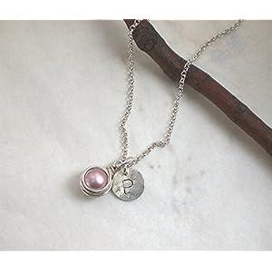 Buchstaben Kette Initiale Muschelkern rosa 925 Silber, Halskette Perle + Scheibe Gravur