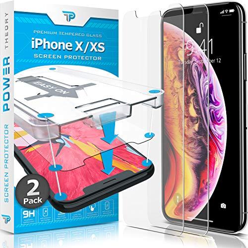 Power Theory Panzerglas kompatibel mit iPhone XS/iPhone X [2 Stück] - Schutzfolie mit Schablone, Panzerglasfolie, Panzerfolie, Glas Folie, Displayschutzfolie, Schutzglas