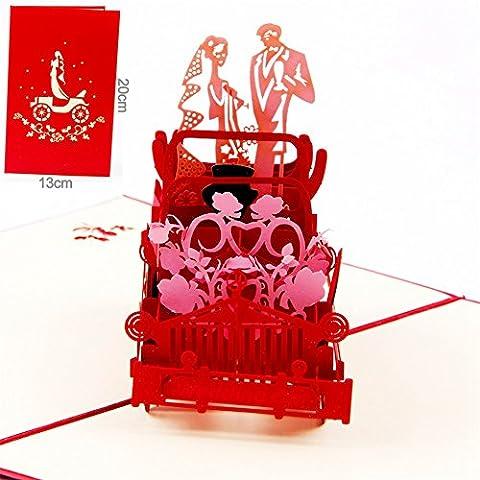 Paper Spiritz carte pop up mariage Voiture vintage Carte de vœux pop-up pour anniversaire pop up greeting card pour son épouse Anniversaire de mariage Fête des Mères
