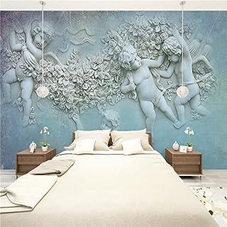Large 3D Stereo Wallpaper Mural White Relief Angel Sunrise Bedroom TV Background Wall