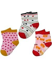 BOMIO | ABS Socken in farbenfrohem Design 3er Pkg. Rosa Mädchen | Antirutsch Baby-Söckchen aus hautfreundlichem Material | Stoppersocken | Hervorragende Passform