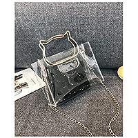 Bolso Clutch Bolso Transparente Bolso Crossbody en forma de oreja de gato bolso transparente Bolso transparente en jalea de PVC Organizador Easy Clean (plata) ( Color : Black , tamaño : 19x7x14cm )