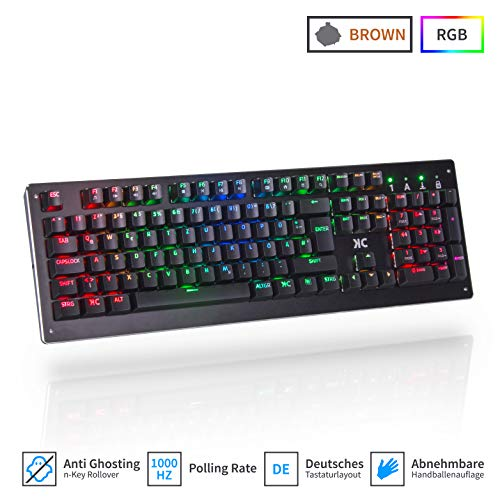 KC Model One Mechanische Gaming Tastatur - Brown Switches | RGB Software | Deutsches QWERTZ Layout | Designed in Germany