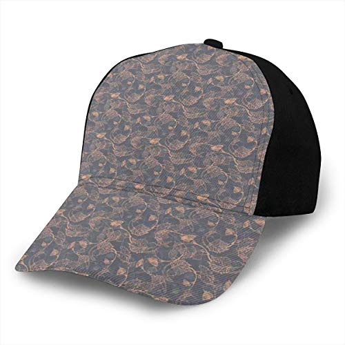 Hip Hop Sun Hat Baseball Cap,Abstract Pink Shade Grapevine Leaves Intertwined Delicate Branches Print,for Men&Women -