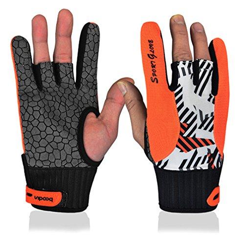 Bowling Handschuhe Rechts Links Hand Handgelenk Unterstützung Handschuhe mit Silikon Anti-Rutsch für Sports Fitness Gym, Orange, M (Bowling Handschuh-handgelenk-unterstützung)