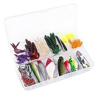 ALLIMITY Lure Kits Hard Spinner Lure Ikasama Kit Mix Farben Bass Köder Minnow Angeln Kunstköder Set Floating Popper für Bass und Forelle Hart Kunststoff mit Tackle Haken