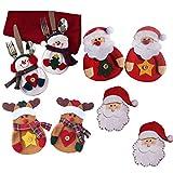 Miya® super süß Weihnacht Party Bestecktasche Geschirrhalter, Tischdeko, Bestecktasche Besteckbeutel für Weihnachten, DIY Deko (8er Set super süß Weihnacht Party)