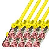 BIGtec - 10 Stück - 0,15m Netzwerkkabel Patchkabel Ethernet LAN DSL Patch Kabel Gigabit gelb ( 2x RJ-45 Anschluß , CAT6 , doppelt geschirmt ) 0,15 Meter