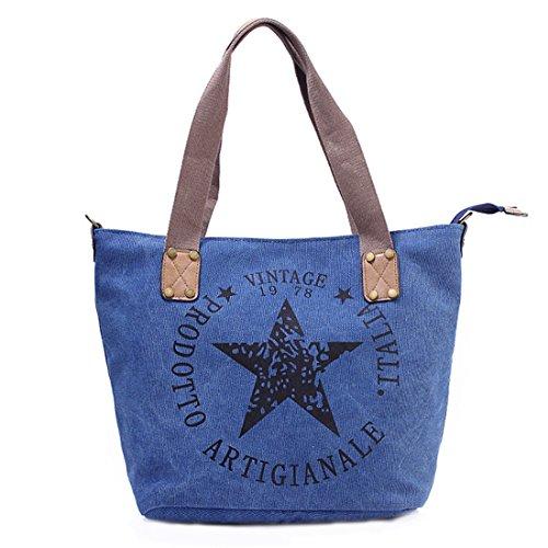 GWELL Canvas Handtasche mit Stern Umhängetasche mit Schultergurt und Reißverschluss blau