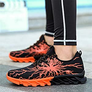 ♔JUSTSELL♔ Men Women Running Shoes Sports Trainers Shock Absorbing Sneakers for Walking Gym Jogging Fitness Athletic Casual Orange