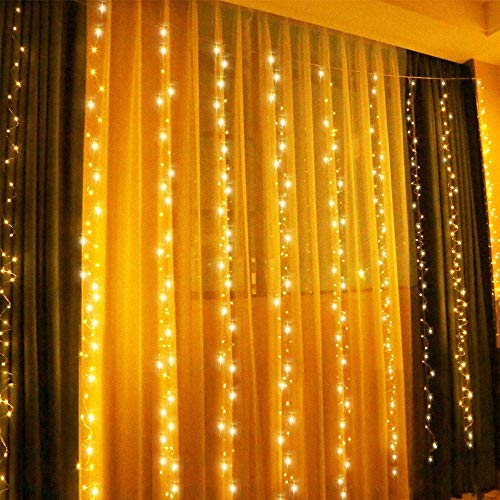 E-CHENG 300 LED Curtain String Light USB Powered 9.84ftx9.84ft Window String Lights with 8 Lighting Modes RF Remote for Wedding Party Home Garden Bedroom Outdoor Indoor Wall Decorations (Warm White) (Outdoor Light Remote)