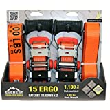 Everest Tough-Tech Series Heavy Duty Premium Ratchet Tie Down Strap - 2 pack - 1.5 inch - 15 Ft - 1100 LBS Load Cap - 3300 LB Break Strength - Cargo Strap for Moving Appliances, Lawn Equipment, Motorcycle, Camping Equipment, Outdoor Activities, Ergonomic Handle by Everest