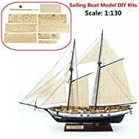 Aissimio Wooden Ship Models DIY Ship Model kit Boat Ships Kits Sail Boat Wooden Model Kit Toy (Type B)
