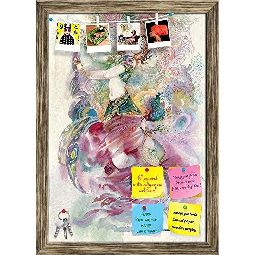 Artzfolio Oriental Dance Young Girl Printed Bulletin Board Notice Pin Board | Antique Golden Frame 16 X 22.8Inch