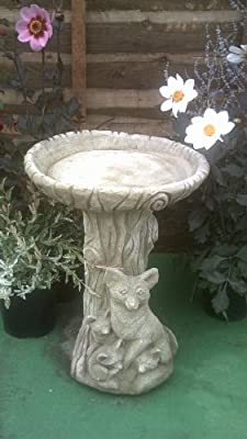 Stone Concrete Bird Bath Fox & Family. from Garden Sculptures and Ornaments