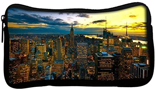Snoogg New York by night Poly Canvas Student Pen Trousse Porte-monnaie Utility Pouch Sac de maquillage