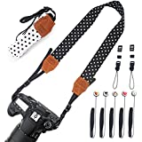2 Pack Camera Neck Strap Vintage For Women(Black & White) + 5 Pack Cute Lens Cap Keeper, Konsait Camera Neck Straps Camera Shoulder Neck Strap Belt For Fujifilm Instax Mini, Polaroid Instant Camera