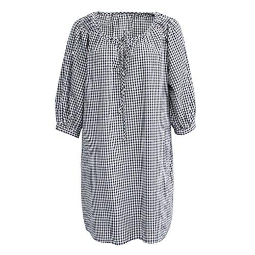 Mayihang Kleid Dress Skirt Im Sommer Hausgemachte Dünne Gitter Lose Verband Ärmel Kleid Rock,M,Blaue Und Weiße Gitter