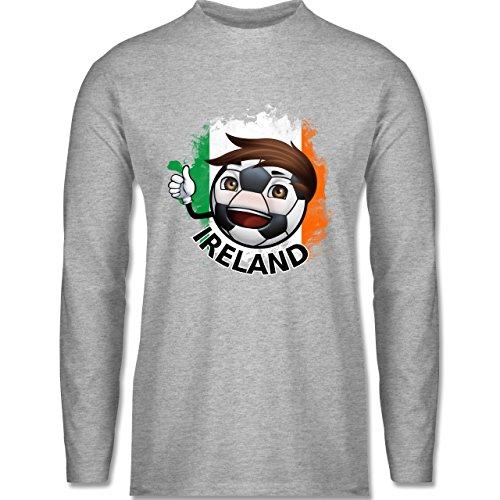 EM 2016 - Frankreich - Fußballjunge Irland - Longsleeve / langärmeliges T-Shirt für Herren Grau Meliert