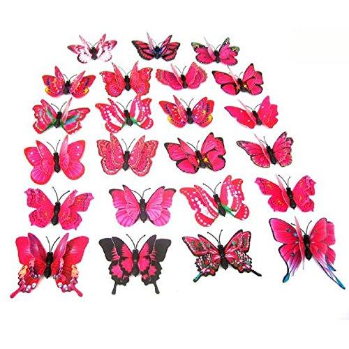 r 3D PVC Schmetterlings DIY Hauptdekor Plakat Kind Raum Wand Dekoration Partei Hochzeits Dekor Wandtattoo Magnet Kühlschrank Aufkleber (Rot) (Partei Dekorationen Für Den Ruhestand)