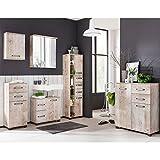 Komplett Badmöbel Set Findusschalung Waschbeckenschrank 60cm Spiegelschrank mit LED Beleuchtung Hochschrank Unterschrank Hängeschrank Kommode Türen mit Dämpfung