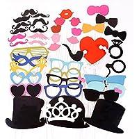 44pcs Masque avec bâton plastique pour Masquerade moustache lèvre lunettes