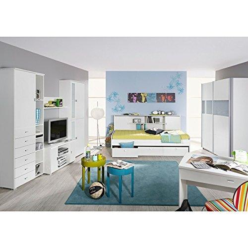 Kinderzimmer Manuel 7-tlg weiß Jugendzimmer Kleiderschrank Schiebetürenschrank Bett mit Regalüberbau TV Media Wand GS-geprüft Gs Tv