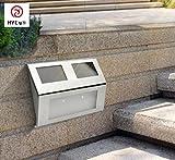 Hycy Solar Lade LED Schrittlicht Sensor Wasserdichte Outdoor Gartenboden Treppenweg Sicherheit Wandleuchte Terrasse Hof Landschaft Licht,White