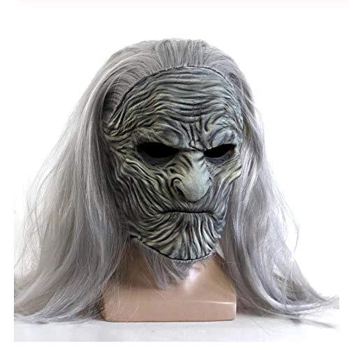 YAX Masken Scary Game of Thrones 8 Die Weißen Wanderer Maske Night King Zombie Halloween Latex Masken Party Kostüm - Zombie Wanderer Kostüm
