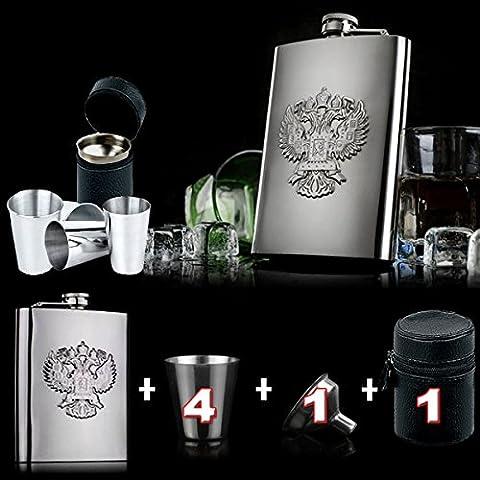 226,8gram en acier inoxydable russe Hip/Nip Gourde pour votre Vodka Warmer/Entonnoir et tasses par Verisa