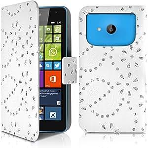 Seluxion - Housse Coque Etui Portefeuille Motif Diamant Universel M Couleur Blanc pour Nokia Lumia 535