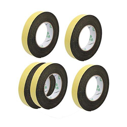 Tradico® 5Pcs 25mm x 2mm Super Strong Single Side EVA Sponge Foam Tape Black 5M Length