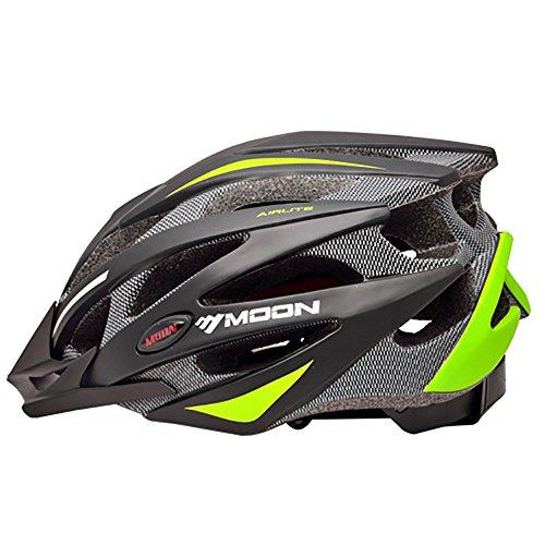 Green-motorrad-helme Dark (Qarape Profession Bike Helm mit Sicherheitslicht einstellbar Sport Fahrradhelm Fahrrad Racing Helme für Road & Mountain Biking Motorrad Sicherheit Schutz Outdoor Sports Helm für Erwachsene Männer Frauen ( Color : Dark green ))