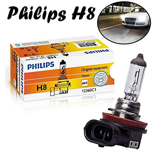 1x Philips Vision H8 35W 12V 12360C1 Original Klar Weiß Long Life High Tech Ersatz Halogen Birne für Scheinwerfer, Fernlicht, Nebelleuchte vorne - E-geprüft
