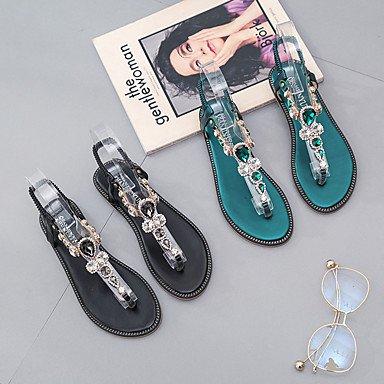 LvYuan Da donna Sandali Comoda Gomma Estate Footing Comoda Fibbia Piatto Nero Verde Meno di 2,5 cm Black