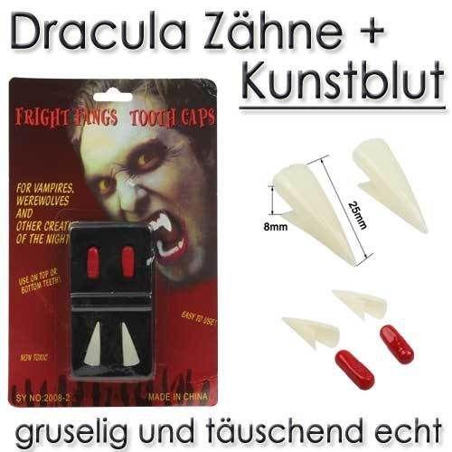 Dracula Zähne + Kunstblut Scherzartikel Halloween Fasching Kostüm Schreck (Zähne Schreck)